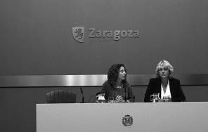 Rueda de Prensa, Arantza Gracia, Concejala Educación del Ayuntamiento de Zaragoza. Pilar Zaragoza, Vicerrectora de Innovación.