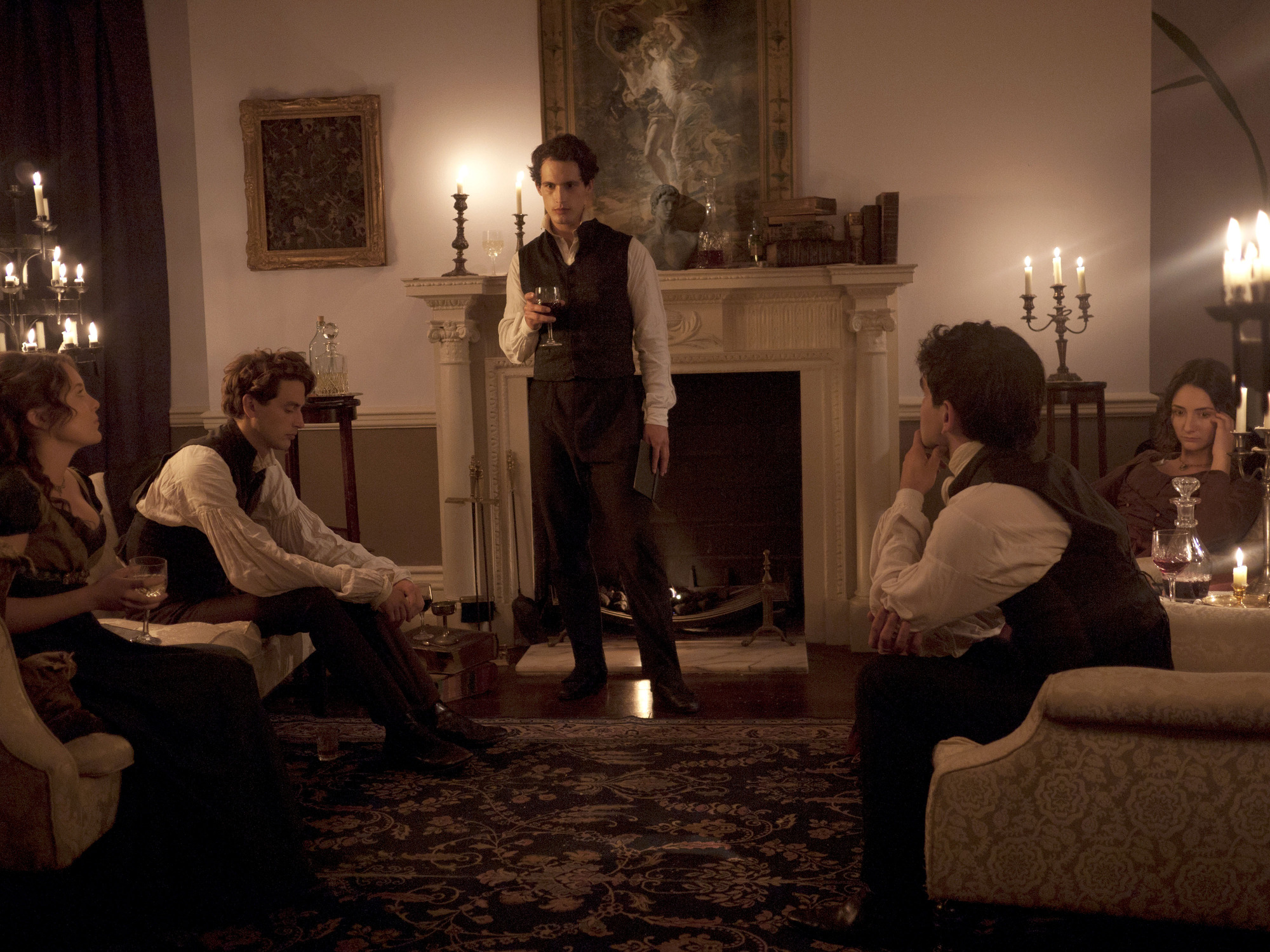 Programme Name: A Dark And Stormy Night: When Horror Was Born - TX: n/a - Episode: n/a (No. n/a) - Picture Shows: (L-R) Claire Clairmont (CATHERINE LAMB), Percy Shelley (TIMOTHY RENOUF), Byron (ROB HEAPS), John Polidori (SAM SWANN), Mary Shelley (HANNAH TAYLOR GORDON) - (C) Oxford Scientific Films - Photographer: Mira Aroyo